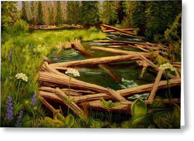 Greeting Card featuring the painting Upper Deschutes by Nancy Jolley