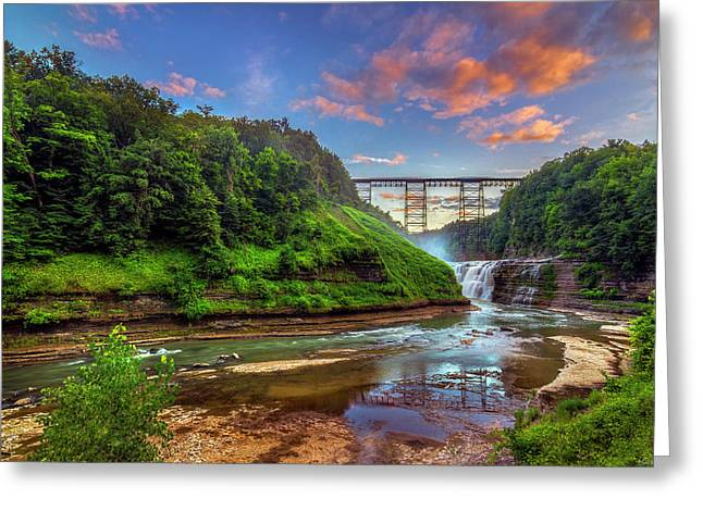 Upper Falls At Sunset Greeting Card