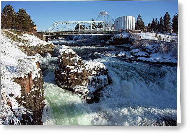 Upper Falls Winter - Spokane Greeting Card by Daniel Hagerman