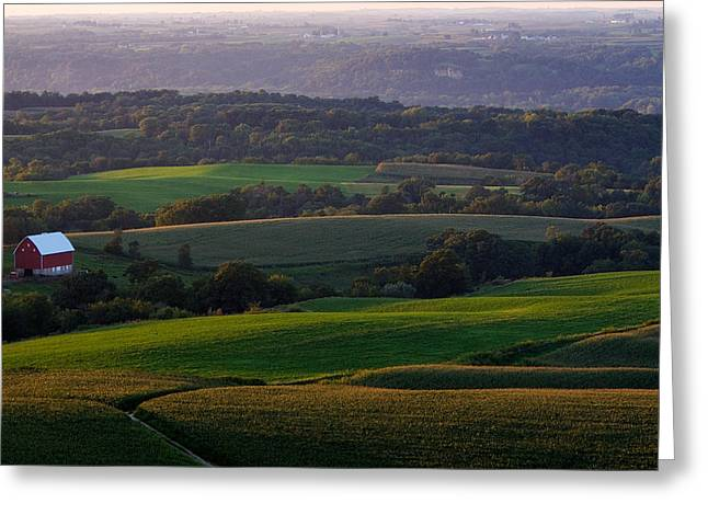 Upper Mississippi River Valley Hills Greeting Card by Jane Melgaard