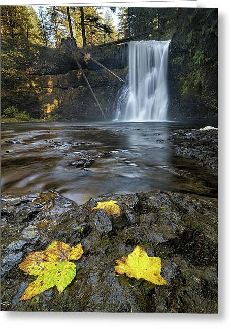 Upper North Falls In Autumn Greeting Card by David Gn