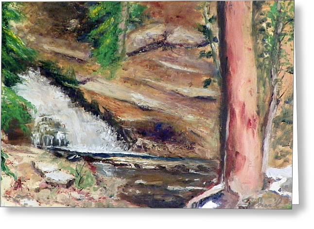 Greeting Card featuring the painting Upper Provo River Falls by Sherril Porter