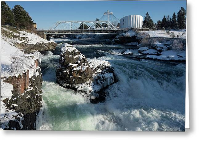 Upper Spokane Falls Winter Ice Greeting Card by Daniel Hagerman