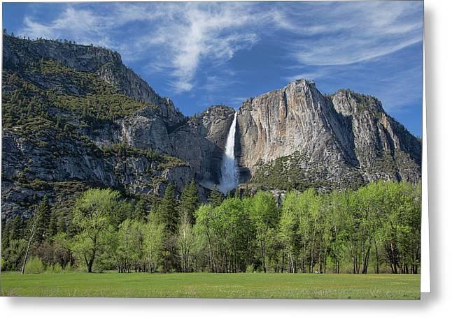 Upper Yosemite Falls In Spring Greeting Card