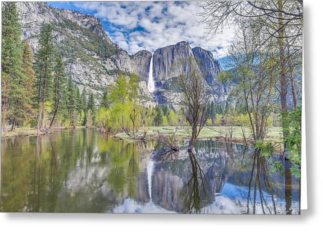 Greeting Card featuring the photograph Upper Yosemite Falls In Spring by Scott McGuire