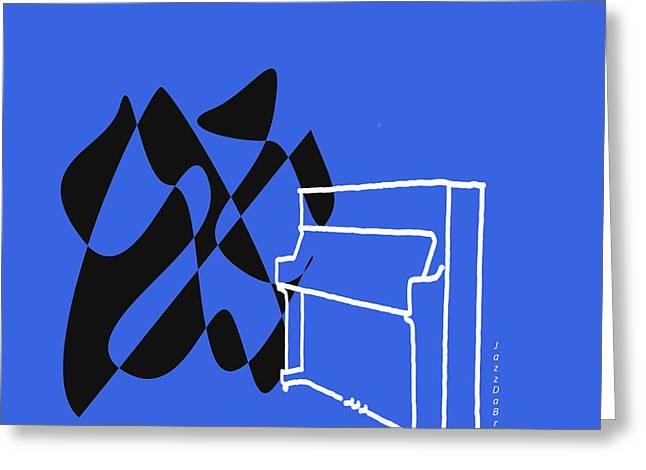 Upright Piano In Blue Greeting Card
