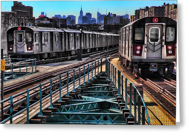 Uptown And Downtown Greeting Card by June Marie Sobrito