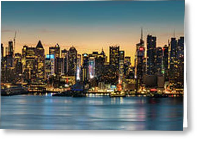 Greeting Card featuring the photograph Uptown And Midtown At Sunrise by Francisco Gomez
