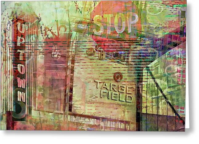 Uptown And Target Field Collage Greeting Card by Susan Stone