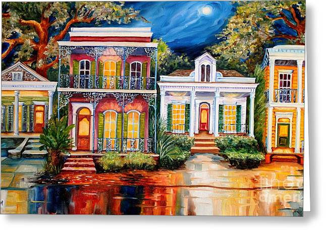 Uptown In The Moonlight Greeting Card by Diane Millsap