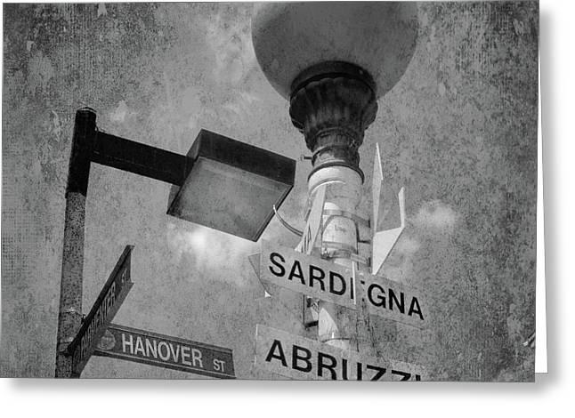 Urban Black And White Boston North End Lamp Post - Hanover Street Greeting Card