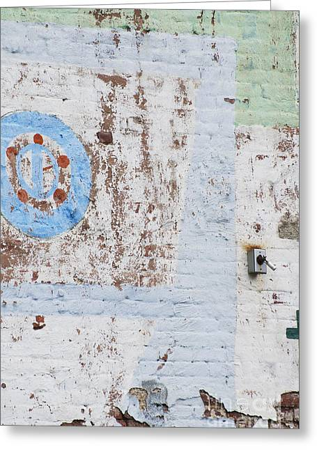 Urban Chipping Wall In Blue And Mint Greeting Card
