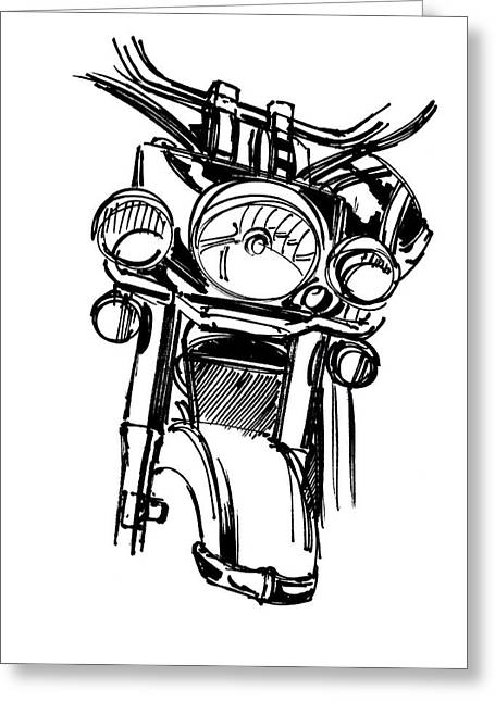 Urban Drawing Motorcycle Greeting Card by Chad Glass