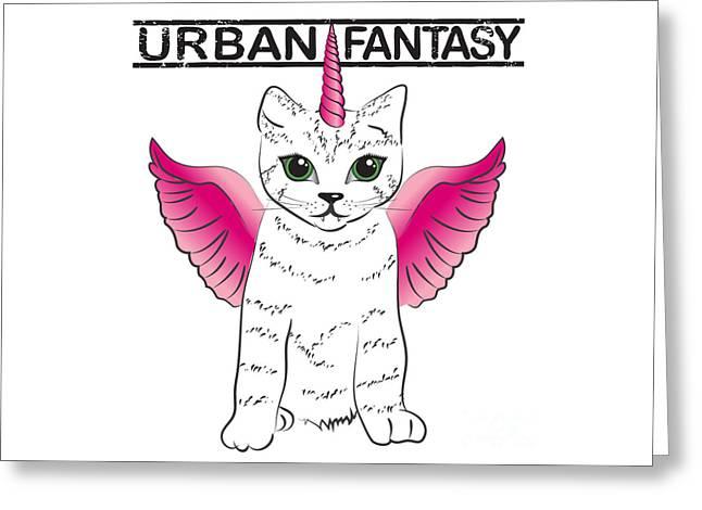 Urban Fantasy Cat Greeting Card