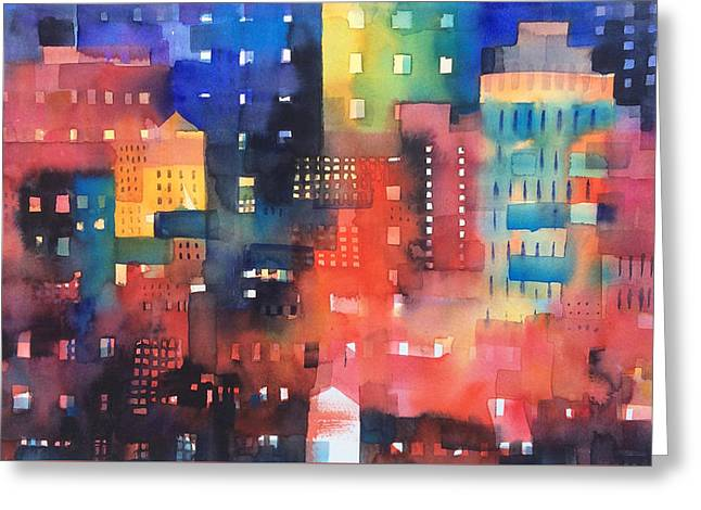 urban landscape 8 - Shadows and lights Greeting Card by Alessandro Andreuccetti