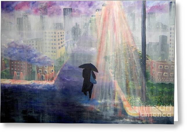 Greeting Card featuring the painting Urban Life by Saundra Johnson