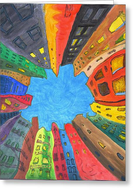 Urban Buildings Pastels Greeting Cards - Urban Mandala Greeting Card by Raul Morales