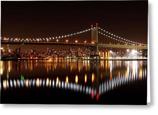 Urban Night Reflection Greeting Card