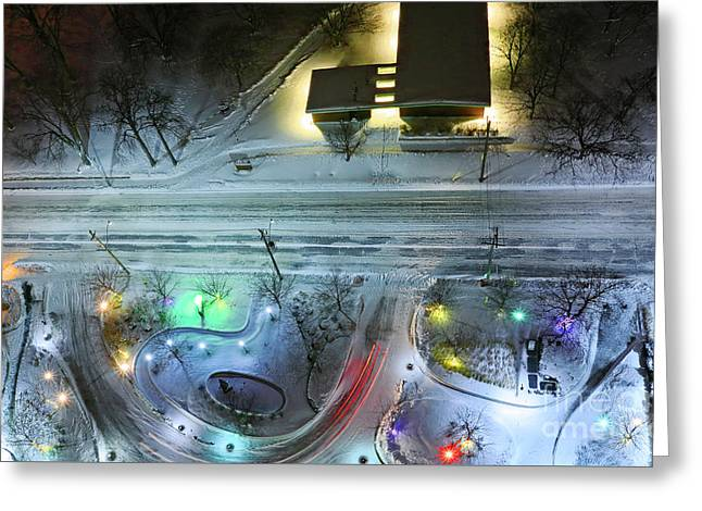 Greeting Card featuring the photograph Urban Road And Driveway In Fresh Snow by Charline Xia
