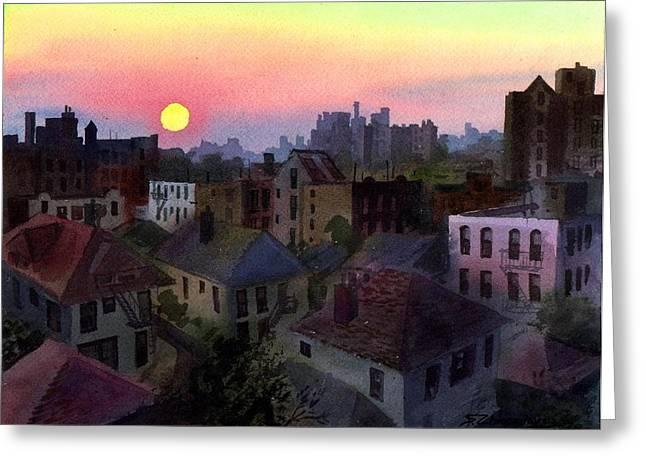 Urban Sunset Greeting Card by Sergey Zhiboedov