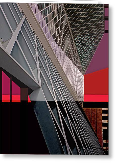 Greeting Card featuring the digital art Urban Sunset by Walter Fahmy
