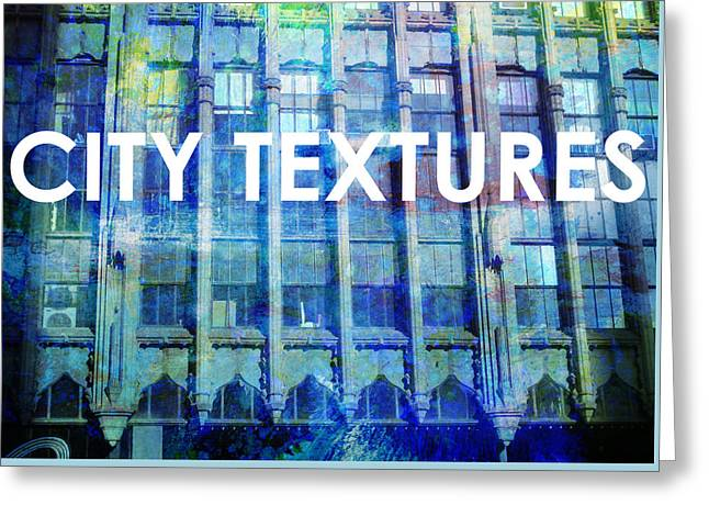 Urban Textures Blue Broadway Greeting Card