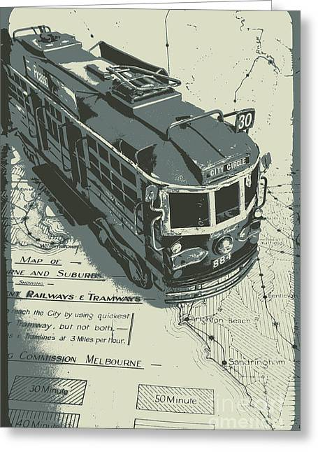 Urban Trams And Old Maps Greeting Card