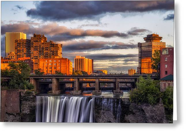 Urban Waterfall Greeting Card by Mark Papke