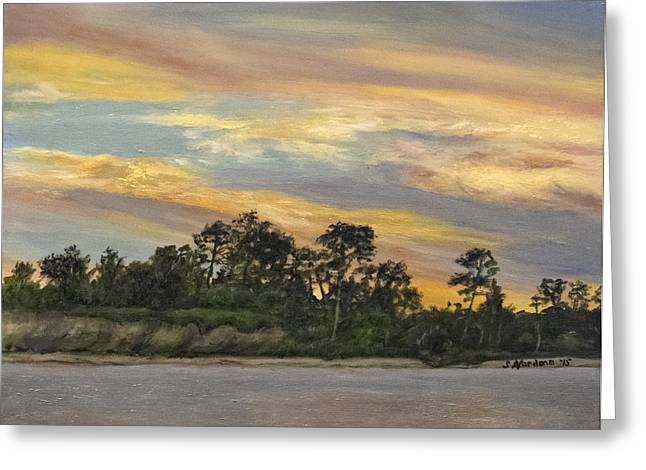 Greeting Card featuring the painting Urbanna Sunset by Sandra Nardone