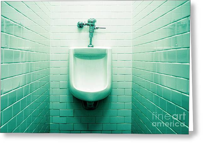 Urinal In Men's Restroom. Greeting Card