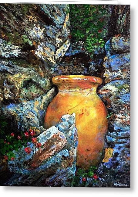 Urn Among The Rocks Greeting Card