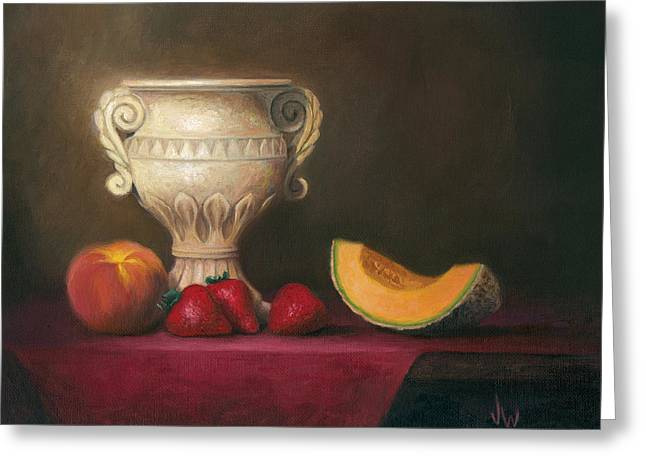 Greeting Card featuring the painting Urn With Fruit by Joe Winkler