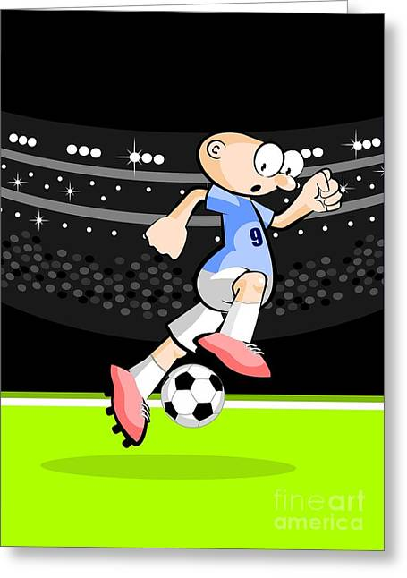Uruguayan Soccer Player Advances With The Ball Dominated Between His Feet Greeting Card