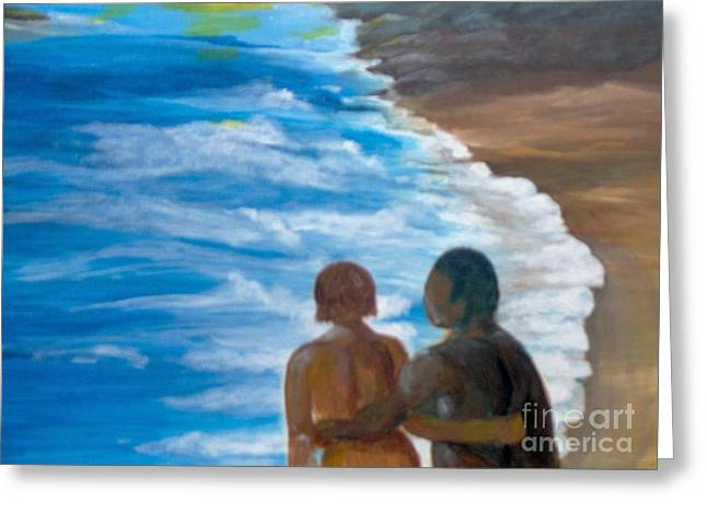 Greeting Card featuring the painting Us Against The World by Saundra Johnson