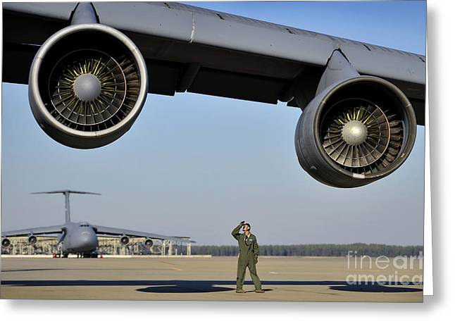 U.s. Air Force Crew Chief Performs Greeting Card by Stocktrek Images