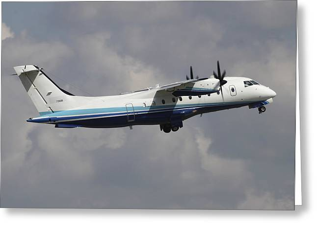 Private Jet Greeting Cards - U.s. Air Force Dornier 328 Transiting Greeting Card by Timm Ziegenthaler