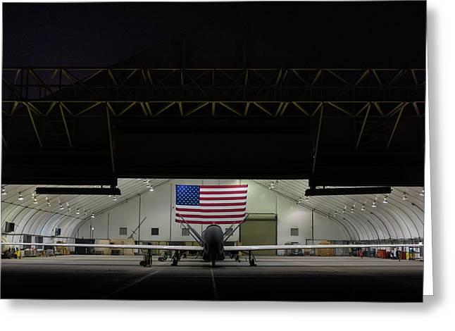 Us Air Force Eq 4 Global Hawk Assigned To The 380th Air Expeditionary Wing Await Routine Maintenance Greeting Card