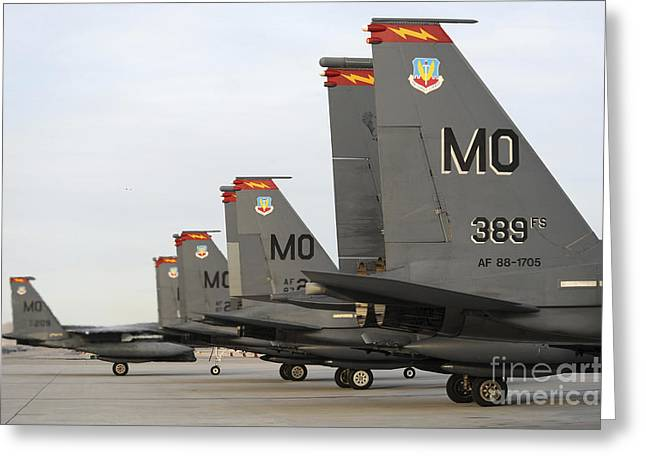U.s. Air Force F-15e Strike Eagles Taxi Greeting Card by Stocktrek Images