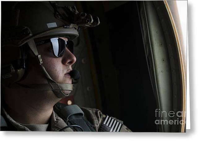 U.s. Air Force Loadmaster Looks Greeting Card by Stocktrek Images