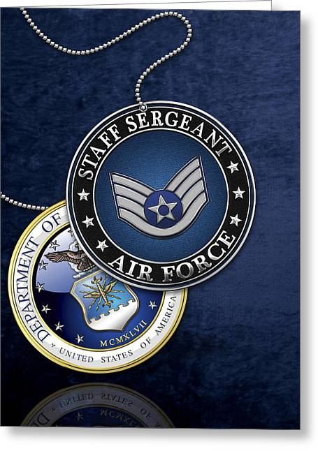 Us Air Force Staff Sergeant - Ssgt Rank Insignia Over Blue Velvet Greeting Card by Serge Averbukh