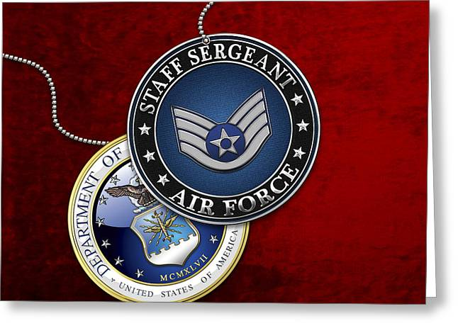 Us Air Force Staff Sergeant - Ssgt Rank Insignia Over Red Velvet Greeting Card by Serge Averbukh