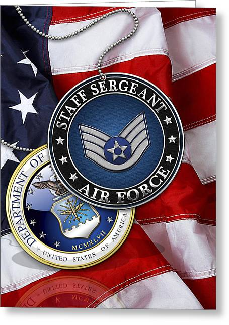 Us Air Force Staff Sergeant - Ssgt Rank Insignia Over Us Flag Greeting Card by Serge Averbukh
