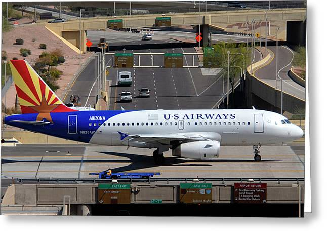 Us Airways Airbus A319-132 N826aw Arizona At Phoenix Sky Harbor March 16 2011 Greeting Card by Brian Lockett