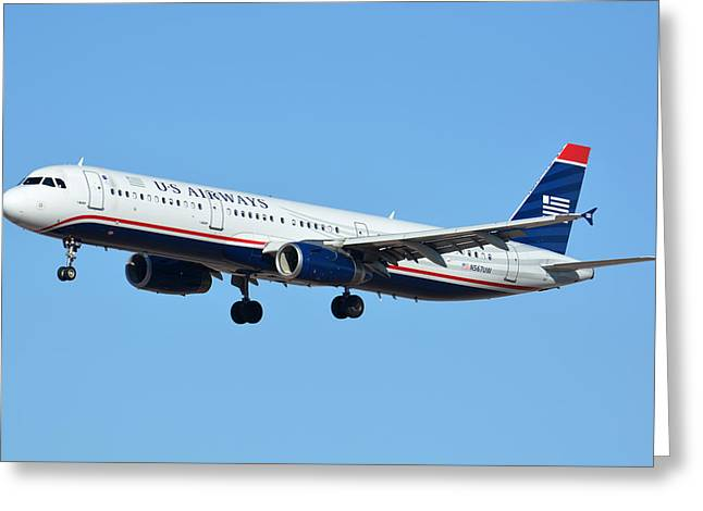 Us Airways Airbus A321-231 N567uw Greeting Card by Brian Lockett