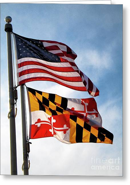 Us And Maryland Flags Greeting Card