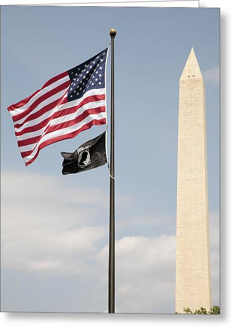 Us And Pow-mia Flags Fly In Washington Dc Greeting Card