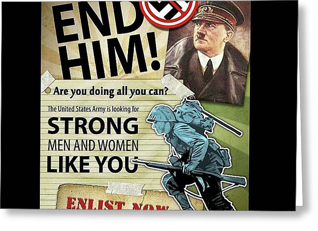 Us Army Enlistment Poster Circa 1942 Frame Added 2016 Greeting Card by David Lee Guss