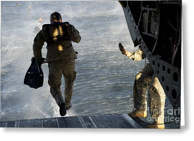 U.s. Army Green Beret Exits A Ch-47 Greeting Card by Stocktrek Images