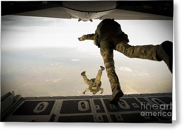 U.s. Army Green Berets Jump Greeting Card by Stocktrek Images