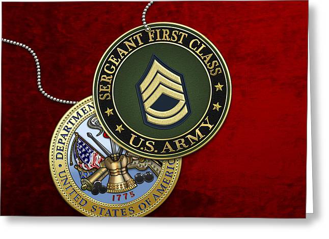 U.s. Army Sergeant First Class Rank Insignia And Army Seal Over Red Velvet Greeting Card by Serge Averbukh